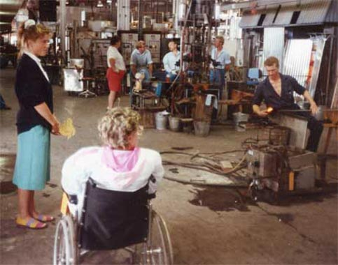 Disabled Traveler Nancy Berger visits Orrefors, Sweden in 1990